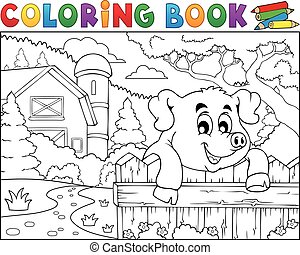 libro, dietro recinto, coloritura, fattoria, maiale