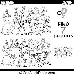 libro, diferencias, colorido, conejos, juego