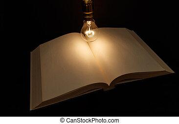 libro, e, lampadina