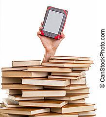 libro, electrónico, arriba, llevar a cabo la mano