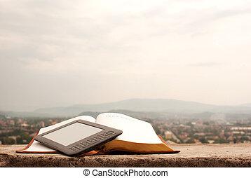 libro electrónico, colocar, lector, aire libre