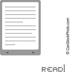 libro, electrónico, icono