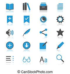 libro electrónico, lector, plano, con, reflexión, iconos