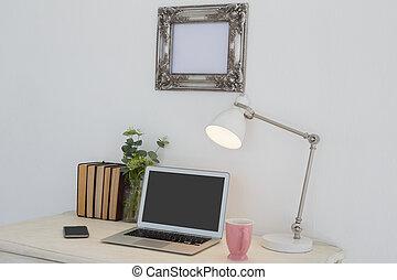 """libro, """"electronic, flora, libro, tazza, aggeggi, table"""", lampada"""