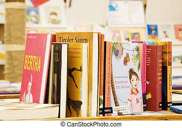 libro, en, el, librería