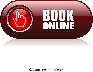 libro, en línea, vector, botón