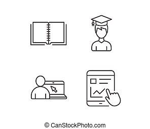 libro, estudiante, y, en línea, preceptoral, icons.