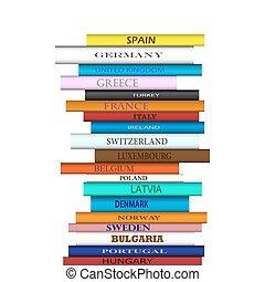 libro, europa, destinaciones, torre