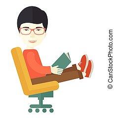 libro, hombre asiático, sentado