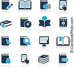 libro, icone, //, azzurro, serie