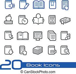 libro, iconos, //, línea, serie