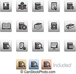 libro, iconos, --, metalbox, serie
