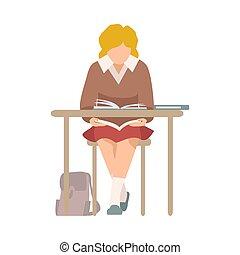 libro, illustrazione, birichino, lettura, vettore, ragazza, seduta, scrivania, scuola