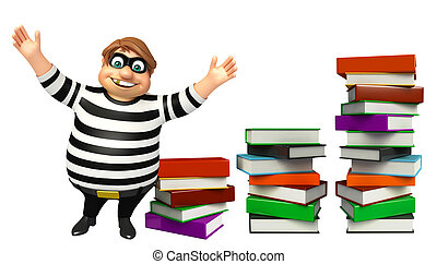 libro, ladrón, pila