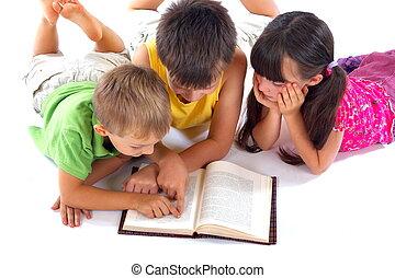 libro, lectura, niños