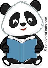 libro, lectura, panda