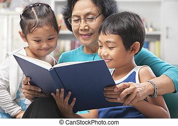 libro lettura, insieme, nipoti, nonna