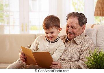 libro lettura, nipote, nonno