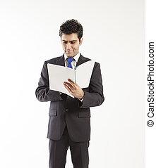 libro lettura, uomo affari