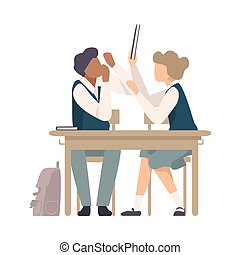libro, lezione, alunni, vettore, combattimento, durante, illustrazione, scrivania scolastica, seduta
