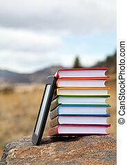 libro, libros, impreso, lector, electrónico, pila