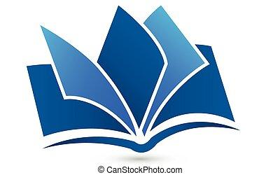 libro, logotipo, símbolo, vector