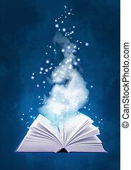 libro, magia, aria
