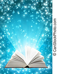 libro, magia, natale, fondo