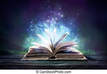 libro, magia, stregare, bagliori