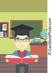 libro, mani, vettore, illustration., laureato