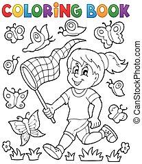 libro, mariposas, colorido, perseguir, niña