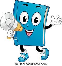 libro, mascota, megáfono, ilustración