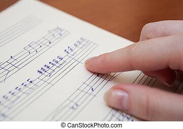 libro musica, con, scritto mano, note