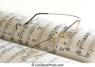 libro musica, e, occhiali