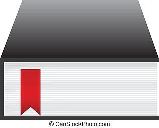 libro, negro rojo, cinta