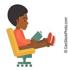 libro, negro, sentado