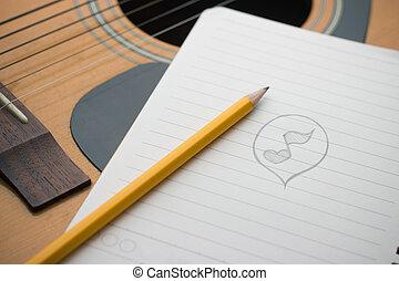 libro, nota, acústico, cima pluma, guitarra