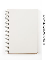 libro nota, aislado, blanco