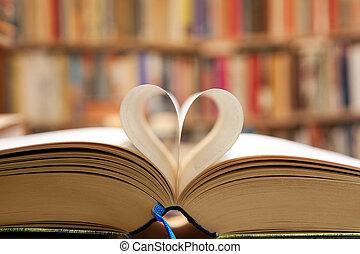 libro, página, en, forma corazón