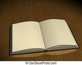 libro, pagine, vuoto, 3d