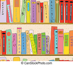 libro, papel pintado, seamless, biblioteca, estantes