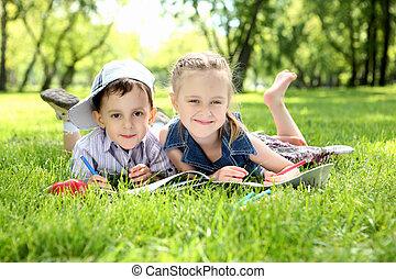 libro, parque, lectura, niños