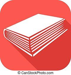 libro, plano, icono