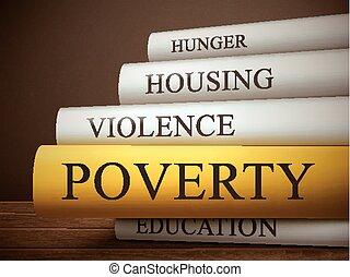 libro, pobreza, de madera, aislado, tabla, título
