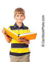 libro, presa a terra, scolaro