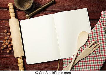 libro, receta, tabla de madera, blanco