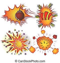 libro, retro, comico, boom, vettore, esplosione