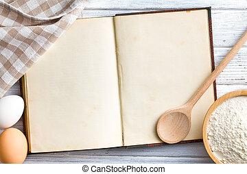 libro, ricetta, vuoto