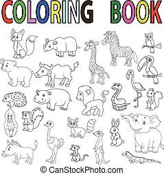 libro, salvaje, colorido, caricatura, animal