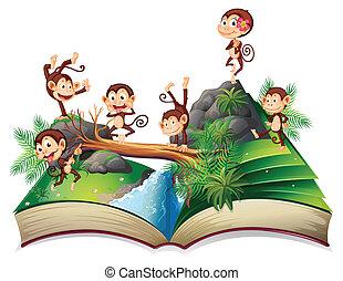 libro, scimmie, pop-up